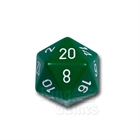Large D20 - Opaque Green/White